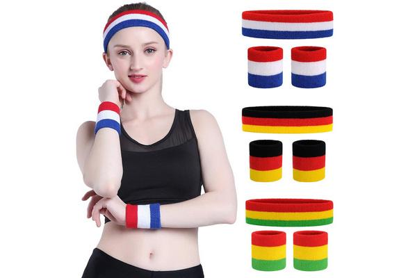 Easy GEAR Sweatbands 3pcs Elastic Sport Headband Wrist Bands Hairband White//Red//