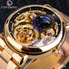 metalstrapwatch, Men Business Watch, moonphase, Waterproof