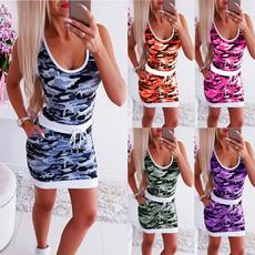 Summer, neck dress, Mini, Dress