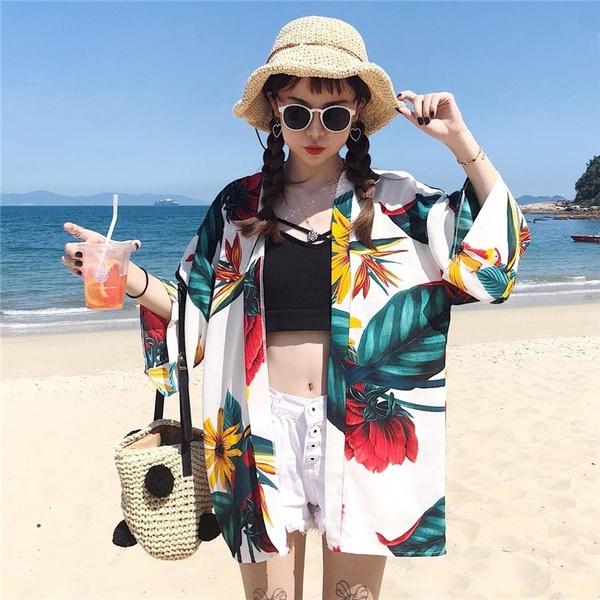 Summer, womenbathrobe, longoutwear, Hawaiian