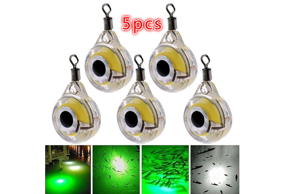 LED Deep Underwater Eye Shape Fishing Lure Light Flashing Low Power Lamp I1L8