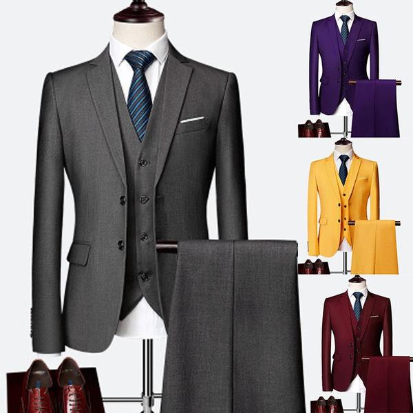 businesssuit, purple suits for men, Plus Size, slim