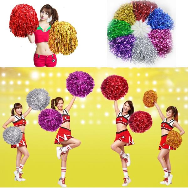 Cheerleader Pom Poms Waver Fancy Dress Costume Pompoms Dance Hen Party Decor /_UK