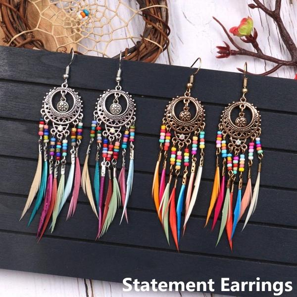 Antique, rainbow, gold plated earrings, vintage earrings