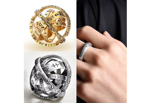 Qvwanle Ring,Openable Ring Astronomical Globe Ring Vintage Science Jewelry