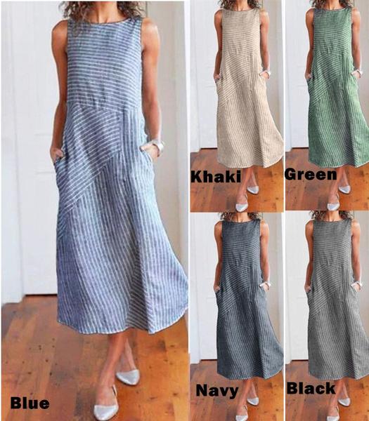 Pocket, long skirt, linen dress, Necks