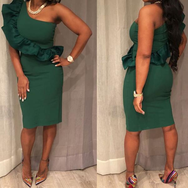 slim dress, ruffle, Necks, Irregular