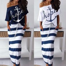 Summer, Two-Piece Suits, print dress, Sleeve