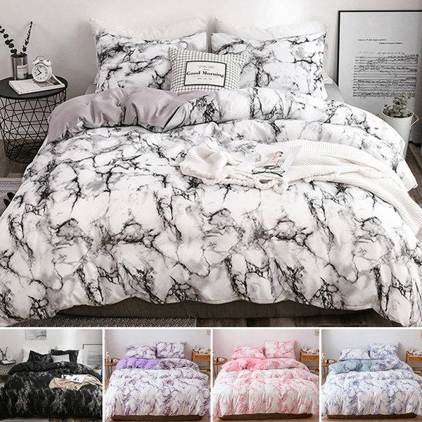 SHOMPE Marble Comforter Set Twin Size,Soft Bedding Quilt Set Modern Blue and Purple Pastel Colors Turquoise Pattern Printed