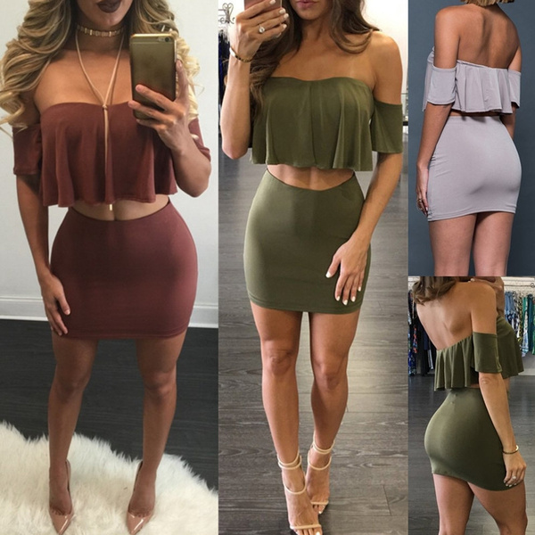 Fashion Skirts, off shoulder top, pencil skirt, crop top