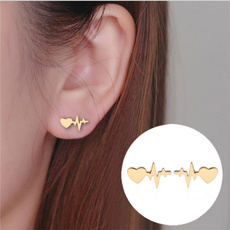 Heart, Jewelry, Gifts, electrocardiogramearring