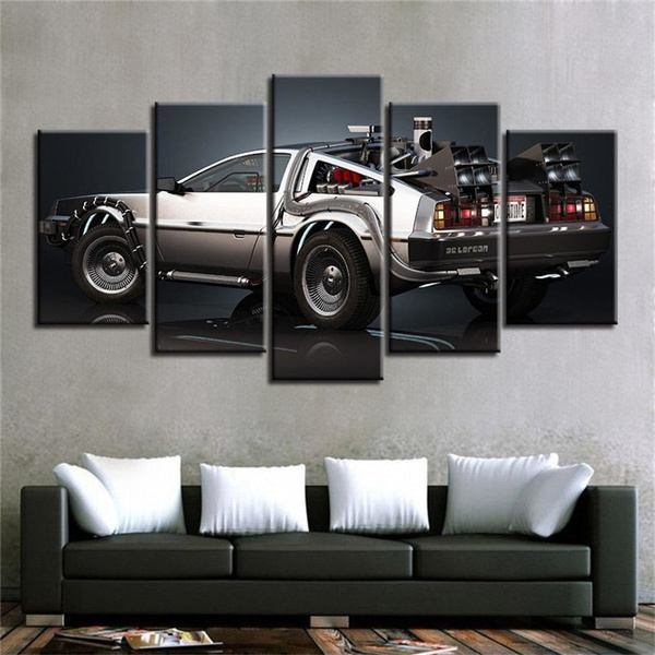 Art Poster 5 Pieces 3D Canvas Painting Back to The Future Conference Decoration 100x50cm Frameless