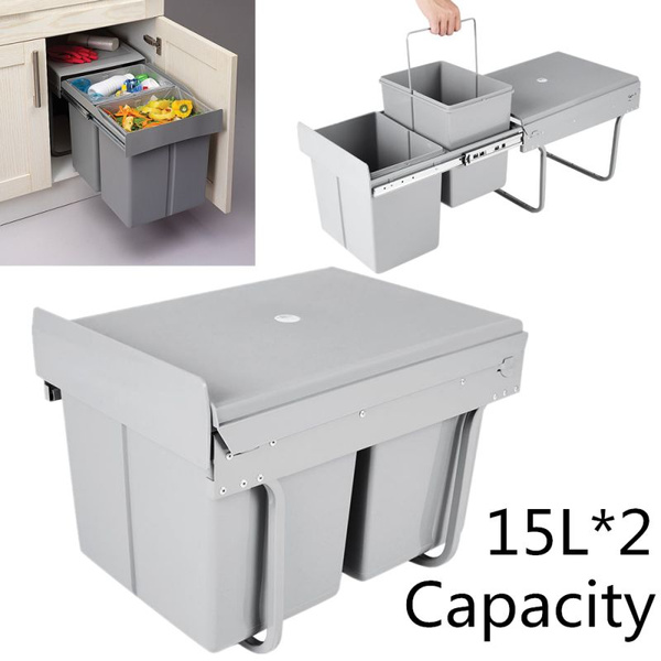 Double Container Kitchen Cabinet Pull Out Trash Can Waste Bin Door Mounted 2 15l Wish