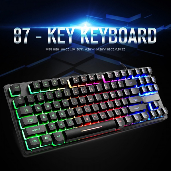 Qi Peng Mechanical Keyboard and Mouse Set Notebook Desktop Computer Esports Game Backlight Keyboard USB Interface 104 Key Keyboard Color : C