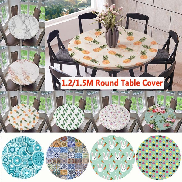 Anti Slip Round Elastic Table Cover, Round Table Cover With Elastic