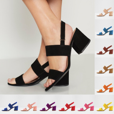 Summer, Sandals, thickheel, Buckles