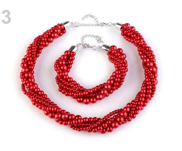 pearlandglassnecklace, pearlnecklacenecklace, rednecklaceandbracelet, glasspearlbracelet