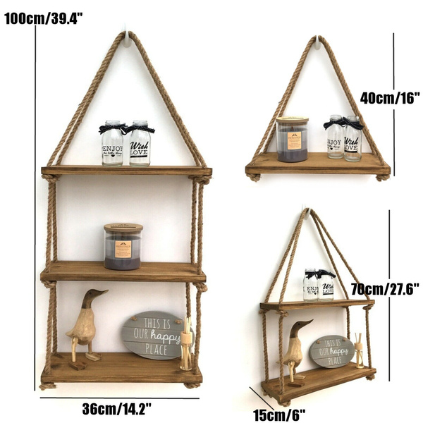1//2//3 Tier Rustic Wooden Hanging Rope Shelf Handmade Solid Wood Floating Shelves