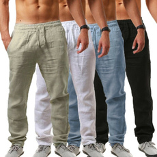 Summer, elastic waist, men trousers, Casual pants