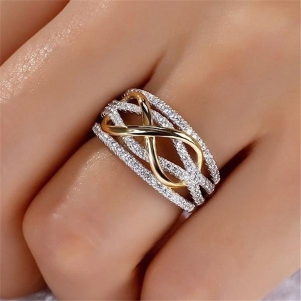 Sterling, crystal ring, 925 sterling silver, wedding ring