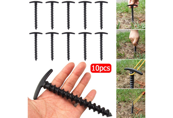 10Pcs Plastic Screw Spiral Tent Pegs Stakes Nail Outdoor Camping Awning Trip Kit