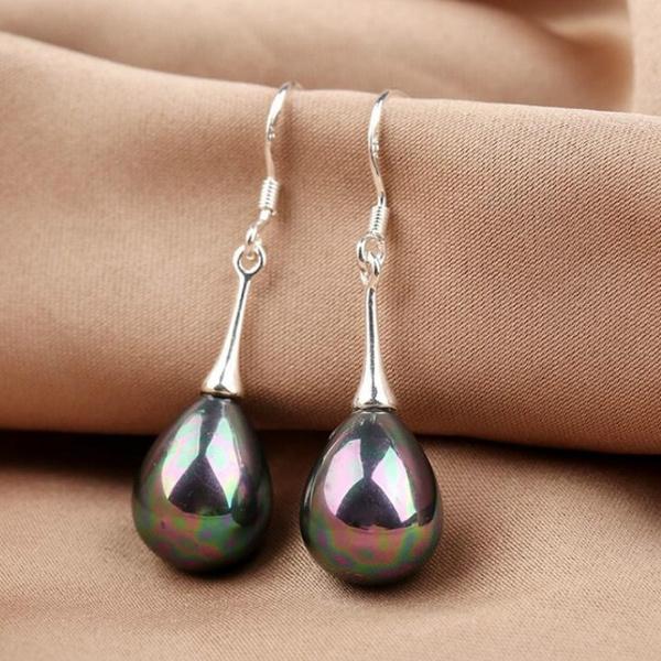rainbow, Dangle Earring, Gemstone Earrings, Pearl Earrings