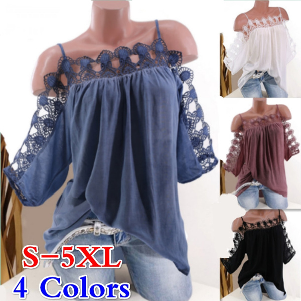 blouse, Summer, off shoulder top, Plus Size