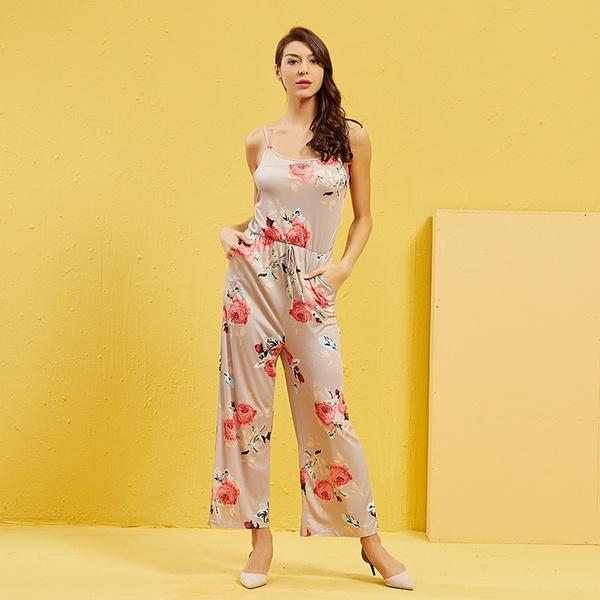 Summer, Fashion, Floral print, jumpsuitforwomen