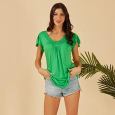 Summer, Fashion, Pleated, short sleeves