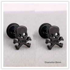 Steel, stainless steel earrings, Jewelry, skull