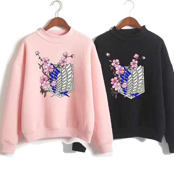 printed sweatshirt, loose sweater, sweatshirts for women, Attack on titan