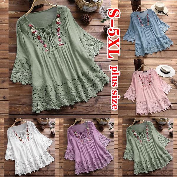 blouse, Summer, Loose, 34sleeve