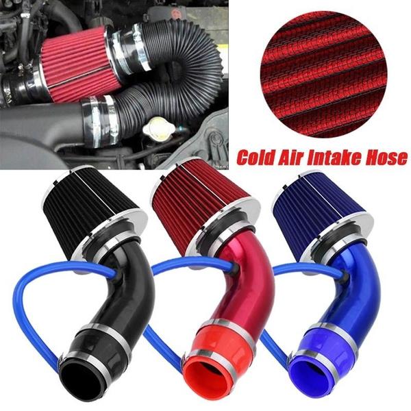 Qiilu 76mm 3 Universal Carbon Fiber Induction Ram Filter Box Cold Air Intake System W//Intake Hose