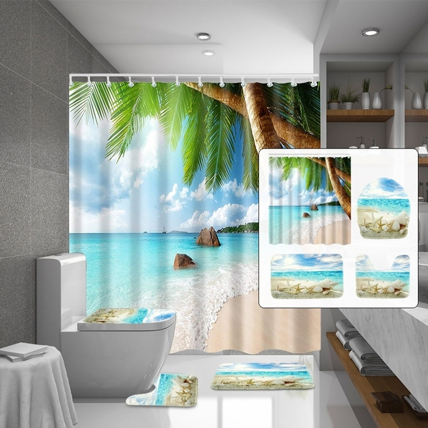 4pcs Bathroom 3d Tropical Beach Palm, Palm Tree Shower Curtains Bath Accessory Sets