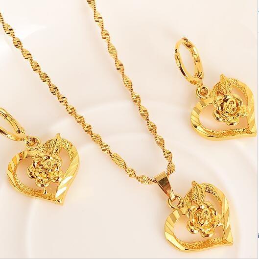 Romantic Heart Pendant Necklaces Jewelry Set
