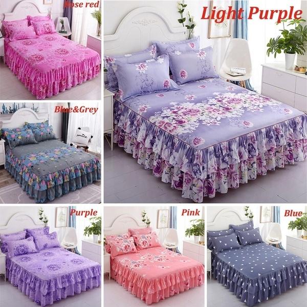 Flower Pattern Printed Ruffled Elastic, Purple Queen Size Bed Skirt