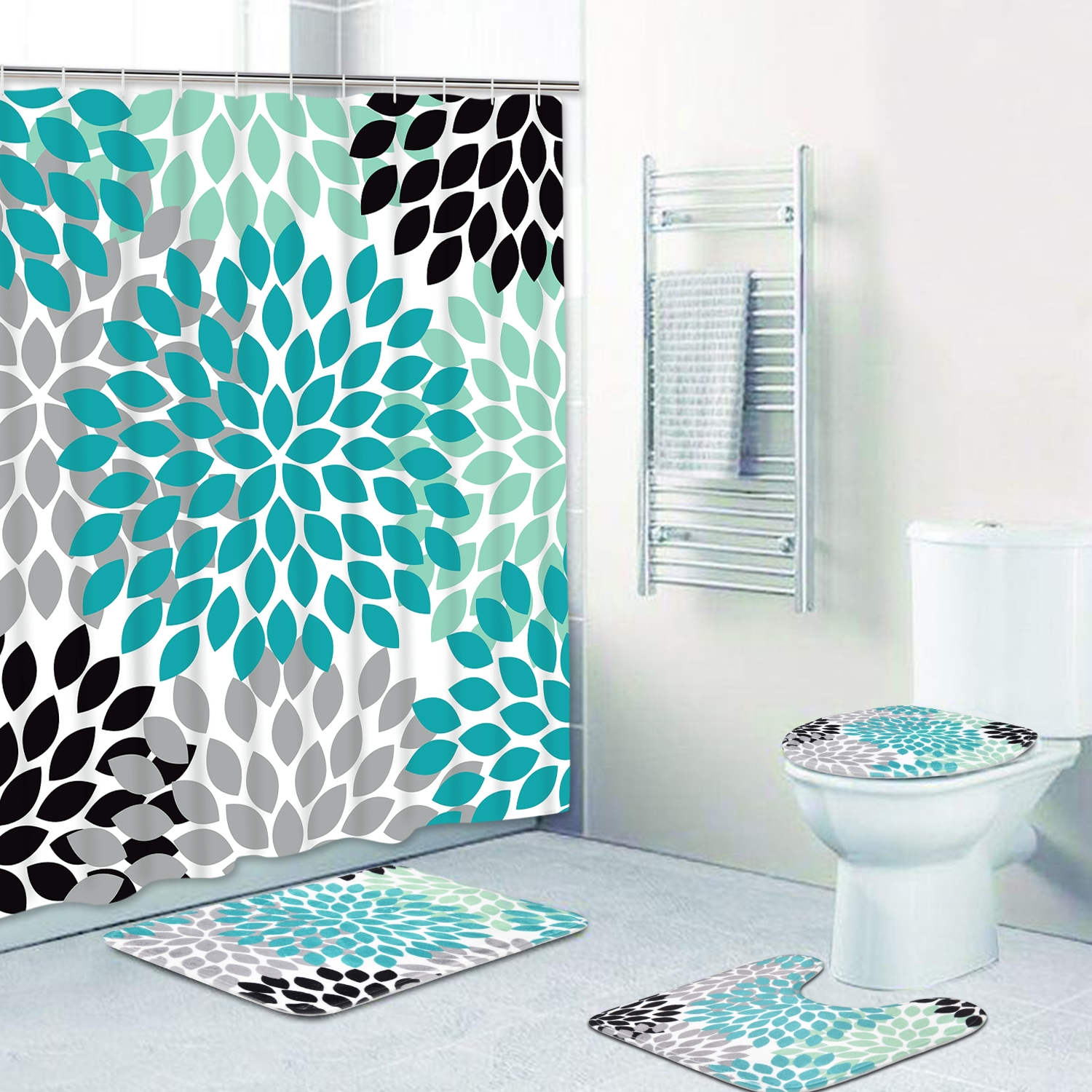4 Pcs Turquoise Print Bathroom Sets Non Slip Rugs Toilet Lid Cover Bathroom Mats Turquoise Shower Curtains With 12 Hooks Turquoise Grey Black Print Decorative Bathroom Accessories Wish