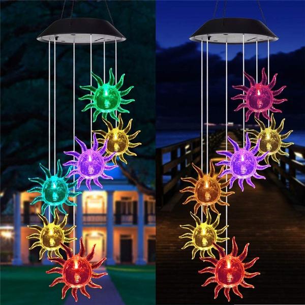 windchimeslight, Outdoor, led, sunflowersolarlight