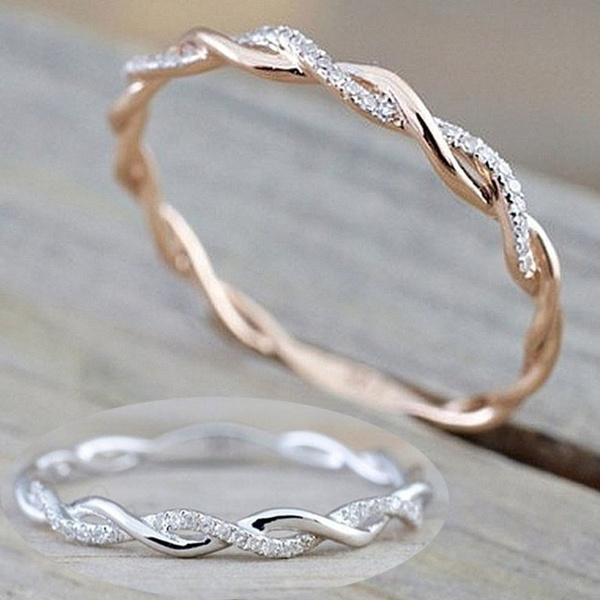 Sterling, crystal ring, wedding ring, gold