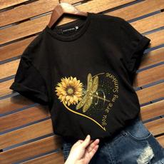 Summer, letter print, summer t-shirts, Cotton T Shirt