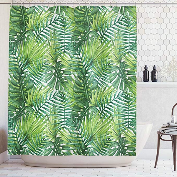 Leaf Shower Curtain Tropical Exotic Banana Forest Palm Tree Leaves Watercolor Design Image Fabric Bathroom Decor Set With Hooks 66x72 Inches Green Wish