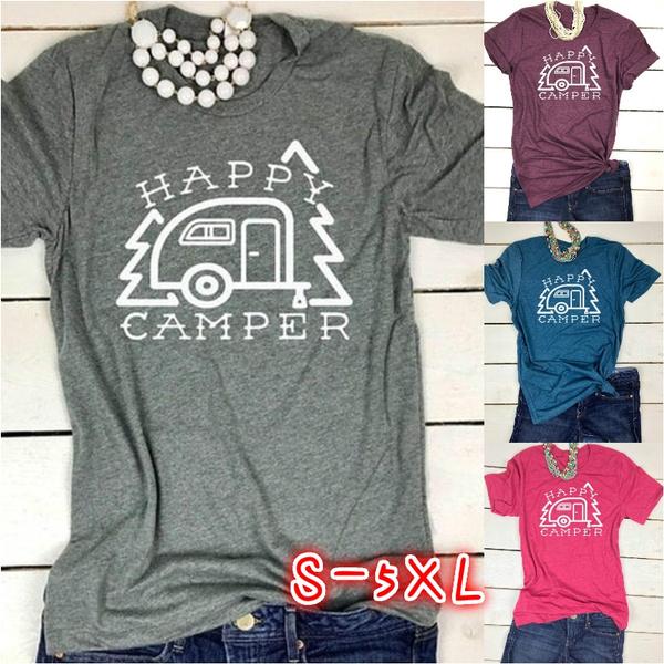 shirtsforwomen, Summer, happycampertop, Cotton T Shirt