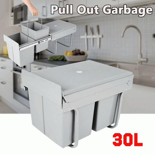 Pull Out Bin Kitchen Waste Basket Slide Out Twin Garbage Rubbish Cabinet Wish
