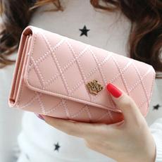 womenlongwallet, leather wallet, plaid, women purse