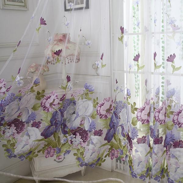 bedroomcurtain, luxurycurtain, Flowers, Door