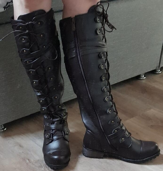 Women Gothic Vintage Style Mid Heeled Over Knee Boots Side Zipper Large Size Boots Wish