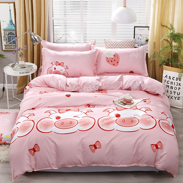 4pcs Bedding Set Polyester Fiber Quilt Cover Bed Sheet Pillowcase Cartoon Pig Print Bedclothes Twin Full Queen King Size Bed Decor Wish