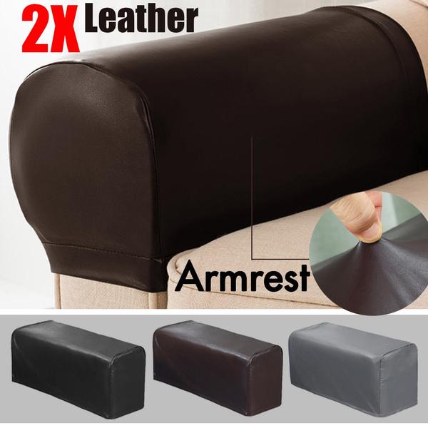 2pc Set Pu Leather Sofa Armrest Covers, Leather Furniture Arm Protectors