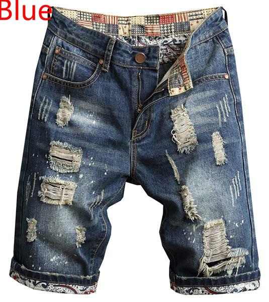 Shorts, Bottom, rippedjean, Denim