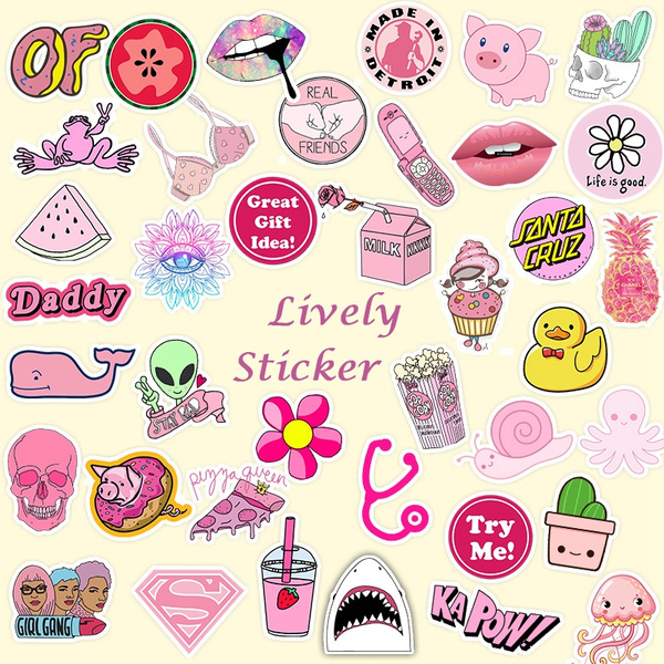 35pcs, Pink Stickers for Water Bottles Teens Girls Boys Kids Adults Waterproof Vinyl Cute Stickers Pack for Laptop Bicycle Bike Motorcycle Luggage Car Skateboards Guitars Party Supplies